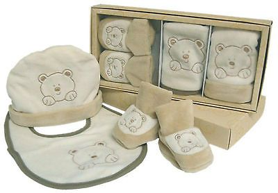 3 Piece Baby Boxed Gift Set - Beanie, Bib & Booties in Beige