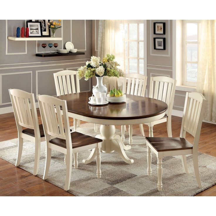Furniture of America Bethannie Cottage Style 2-Tone Oval Dining Table - Free Shipping Today - Overstock.com - 17088212 - Mobile