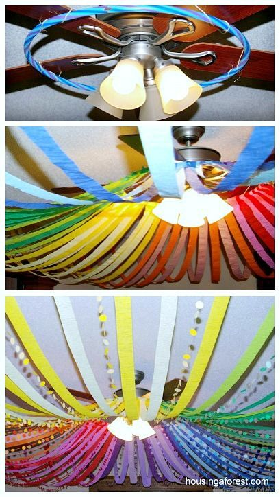 Color Wheel Ceiling ~ Amazing DIY Birthday party Decorations.