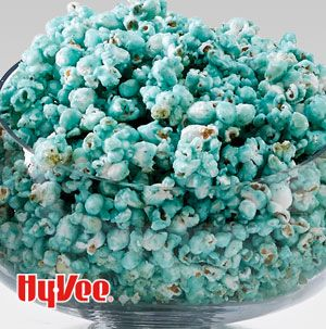 Isn't Berry Blue Popcorn a hoot? Make it in any color you desire by just changing which variety of gelatin.