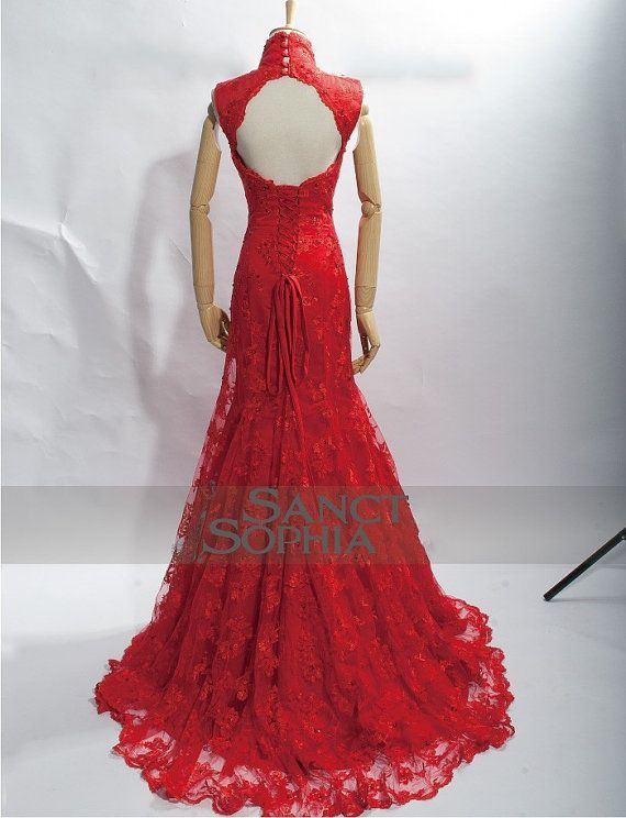 Chinese Style Mermaid Red Wedding Dress Custom with by SanctSophia, $285.00