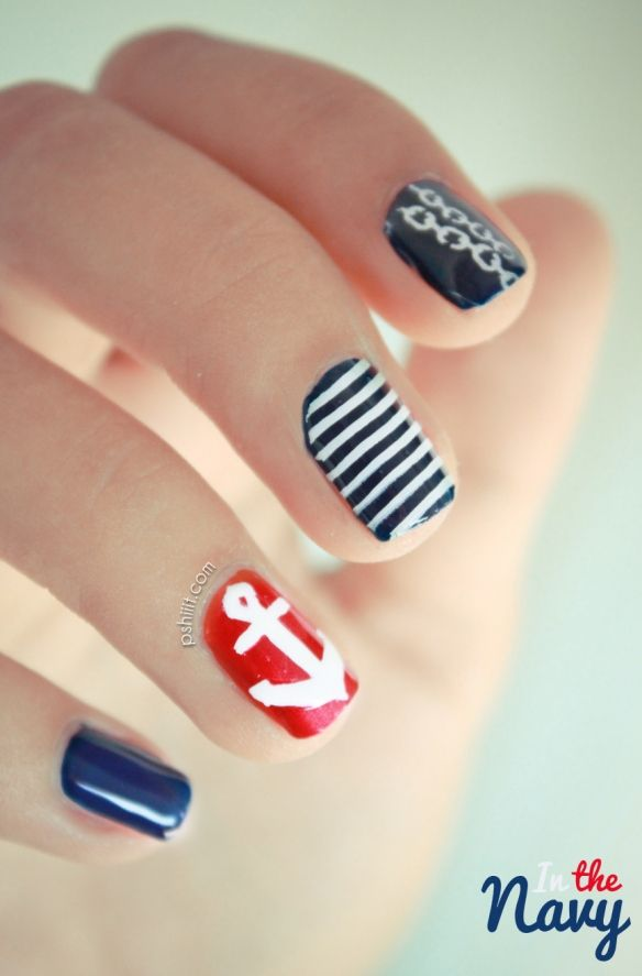 Nail art: in the navy
