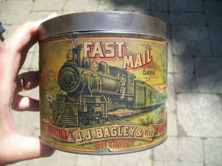 Vintage Fast Mail Dark Chewing Tobacco Paper Label Tin - J.J. Bagley Co Detroit