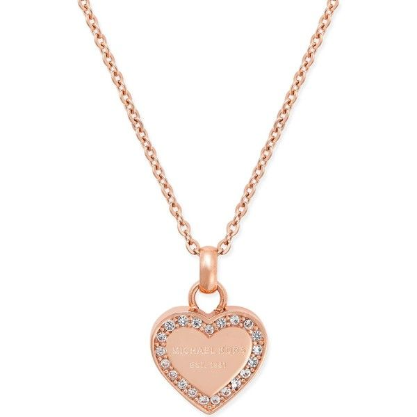 Michael Kors Crystal Heart Pendant Necklace ($95) ❤ liked on Polyvore featuring jewelry, necklaces, rose gold, michael kors necklace, heart jewelry, michael kors jewelry, gold tone necklace and engraved jewelry