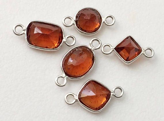 5 Pcs Garnet Bezel Cut Stone Connector Findings Garnet Gem
