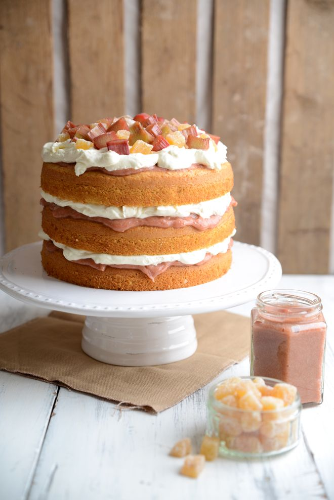 Light and fluffy three layer ginger and orange sponge cake
