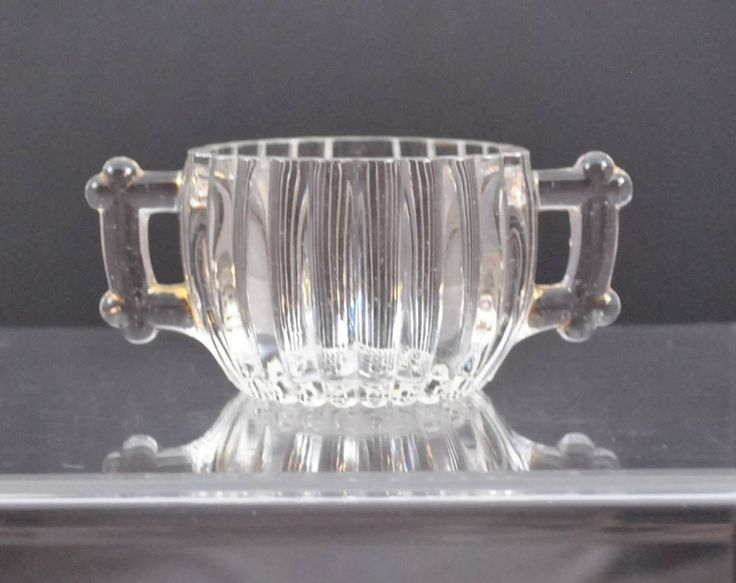 Vintage Jeannette National Clear Glass Sugar Bowl Ribbed
