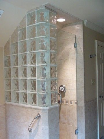 17 best images about glass block shower on pinterest for Half bathroom cost