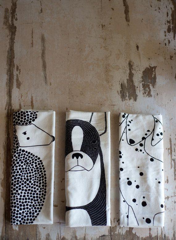 Tea Towel Bundle 3 Dog Tea Towels Printed with Eco by Gingiber