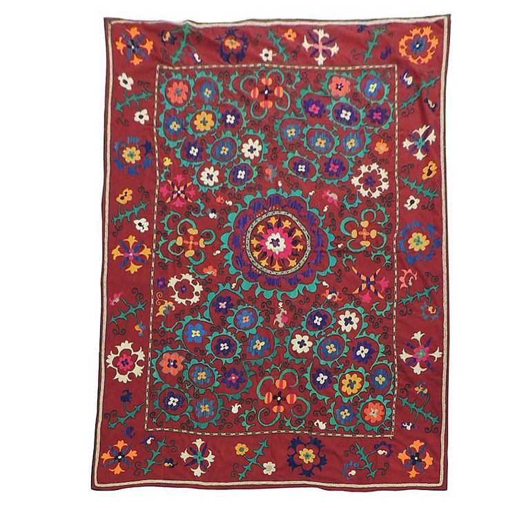 Large Vintage Red Floral Suzani Textile Cloth | From a unique collection of antique and modern tapestries at https://www.1stdibs.com/furniture/wall-decorations/tapestry/