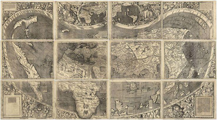 """Universalis Cosmographia, de Martín Waldseemüller (1507), fue el primer Mapamundi en denominar """"América"""" a este continente. El mapa cartografía el océano Pacífico y el istmo centroamericano antes d..."""
