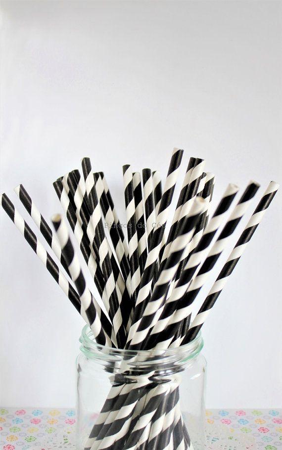 25 paper straw  Black Paper Straws  Stripe Paper by pingosdoceu
