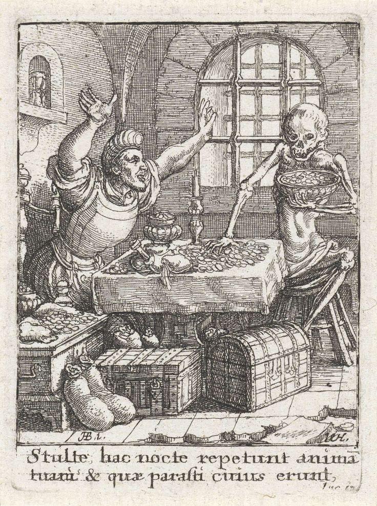 Wenceslaus Hollar   De rijke man en de Dood, Wenceslaus Hollar, c. 1680   Een rijke man zit aan tafel omringd door kisten en zakken met geld. De Dood pakt munten van tafel en verzamelt ze in een schaal. In een nis in de muur staat een zandloper.