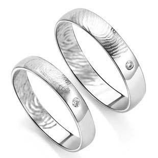 Fingerprint Rings 925 Sterling Silver Couple Rings Birthday Gifts