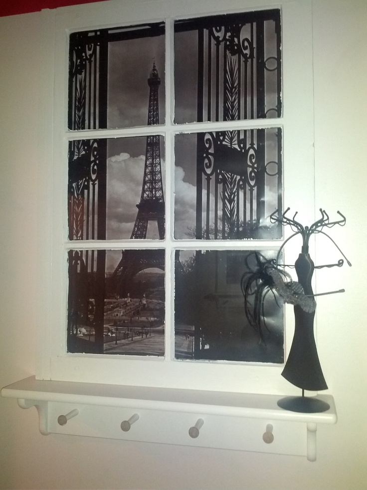 Recycled Frame With Peg Hook Ledge In A Paris Themed Bathroom!