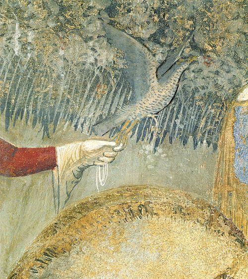 Ambrogio Lorenzetti - Falconiere   (Effetti del Buono Governo nel contado), dettaglio - affresco - 1338-1339 - Siena - Palazzo Pubblico, Sala dei Nove o Sala della Pace