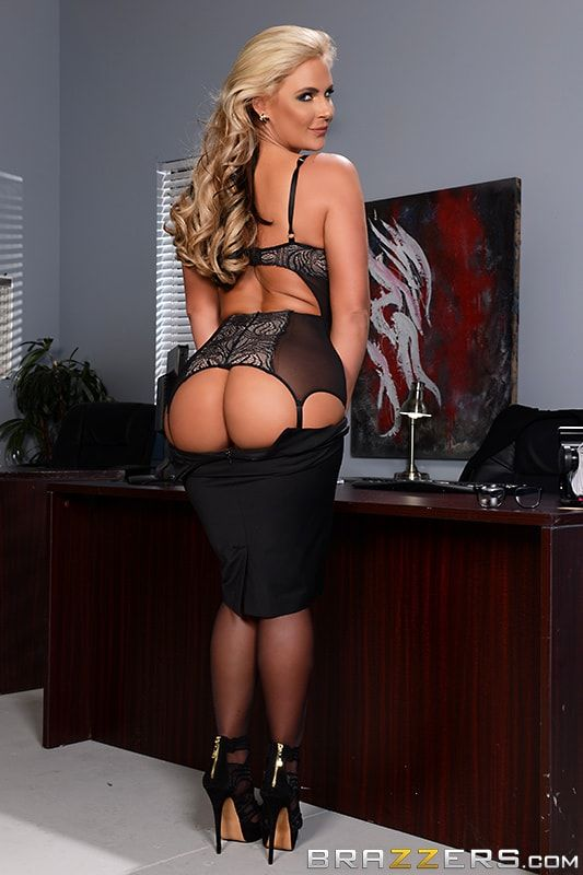 Secretary in pantyhose dominating wife