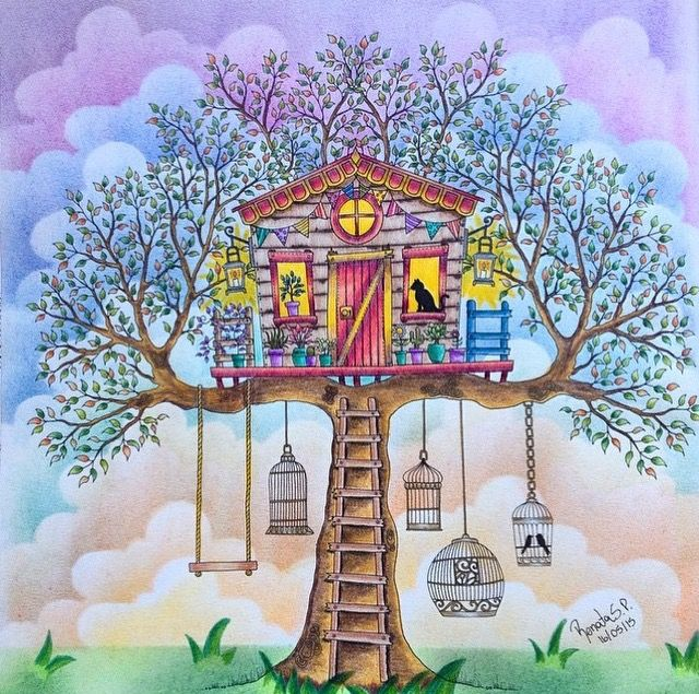 Treehouse Secret Garden. Casa da árvore Jardim Secreto. Johanna Basford. Again, don't like the birds in the cages.