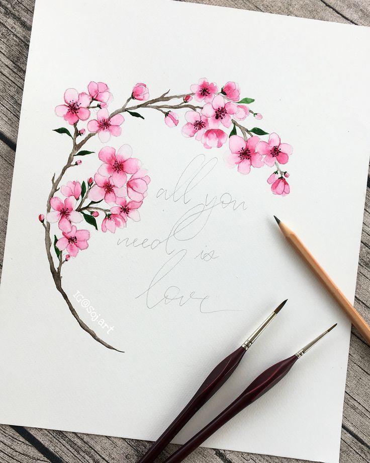 Aquarelle Fleur De Cerisier Watercolorarts Flower Drawing