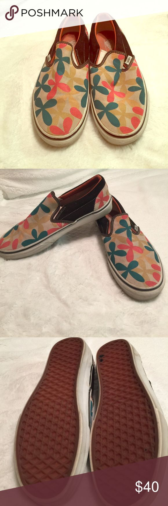 Vans slip on shoe Vans slip on shoe in size 8.5 women's floral print tops brown sides. Used. Still in great condition. Vans Shoes Sneakers
