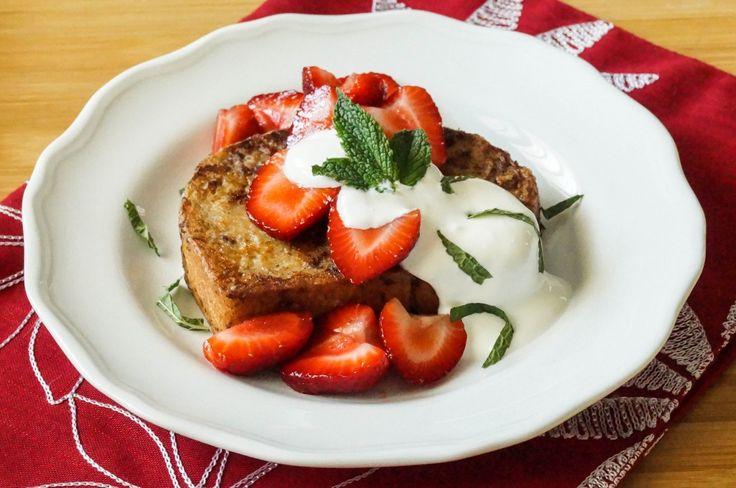 [ norwegian cinnamon toast with strawberries and mint cream ]