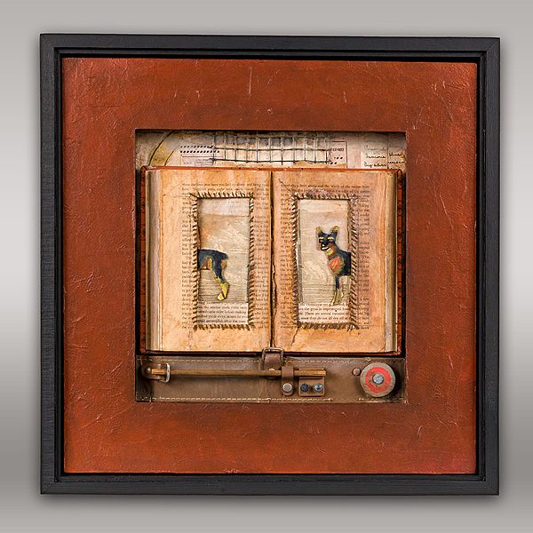 JEROME D'ANGELO - WORK#howmanytimeshavewehadthisconversation#boxassemblage#doginart#assembage#painting#collage#foundobjects