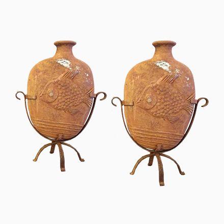 Französische Terracotta Fisch Vasen, 2er Set Jetzt bestellen unter: https://moebel.ladendirekt.de/dekoration/vasen/tischvasen/?uid=615e785c-0919-52b2-bb7f-604d7b58bd80&utm_source=pinterest&utm_medium=pin&utm_campaign=boards #tischvasen #vasen #dekoration