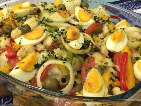 Salada de Bacalhau do Luís Miranda | Saladas | Tamanho Família - Receitas Gshow