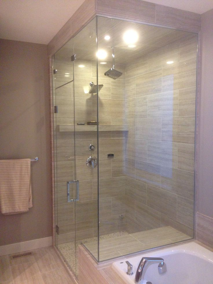 Corner Steam Shower Polished Chrome Hardware With Square