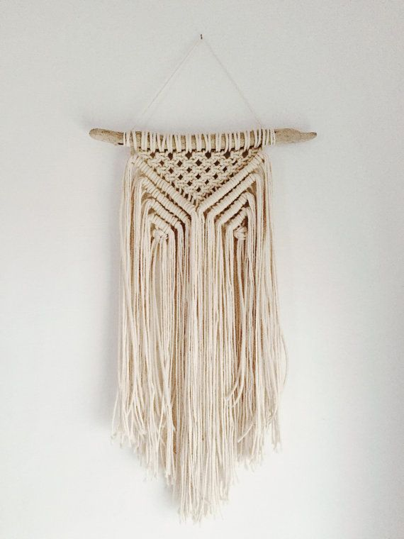 Macrame Wall Hanging on Driftwood // Textured Fringe Wall Hanging // White Wall…