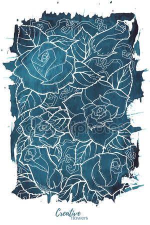 Скачать - Плакат с абстрактными белыми розами. Открытка с розами, акварель, может использоваться в качестве приглашения на свадьбу, день рождения и другие праздничные и летний фон — стоковая иллюстрация #124567458