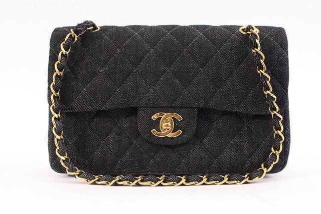 Vintage Chanel Black Denim Double Flap Bag at Rice and Beans Vintage