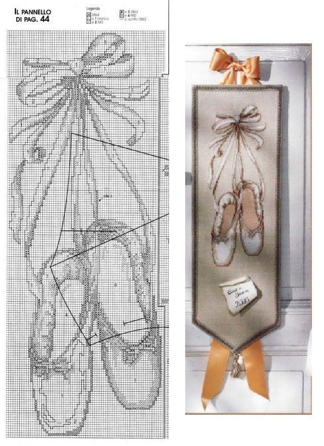 Punts-de-llibre...  --0 point de croix chaussons de danse - cross stitch ballet shoes