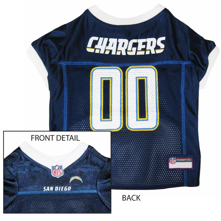 Collar Planet - San Diego Chargers NFL Licensed Pet Dog Football Jersey, $24.49 (http://www.collarplanetonline.com/san-diego-chargers-nfl-licensed-pet-dog-football-jersey/)