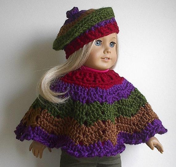 Crochet Amigurumi Pattern Hello Kitty Strawberry Hoolaloop : American Girl Doll Crocheted Poncho Set in Autumn Harvest ...