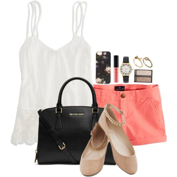 A fashion look from July 2014 featuring American Eagle Outfitters tops, American Eagle Outfitters shorts and MICHAEL Michael Kors handbags. Browse and shop rel…