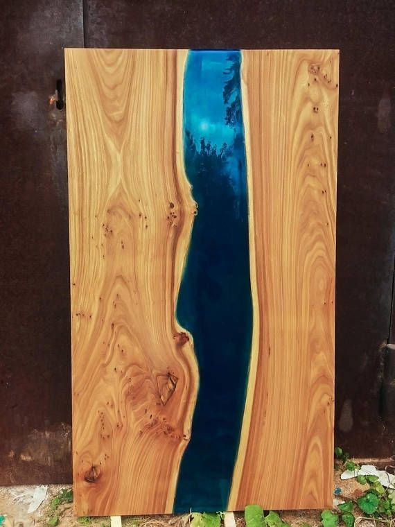 Custom Epoxy Resin Solid Live Edge Elm Wood River Dining