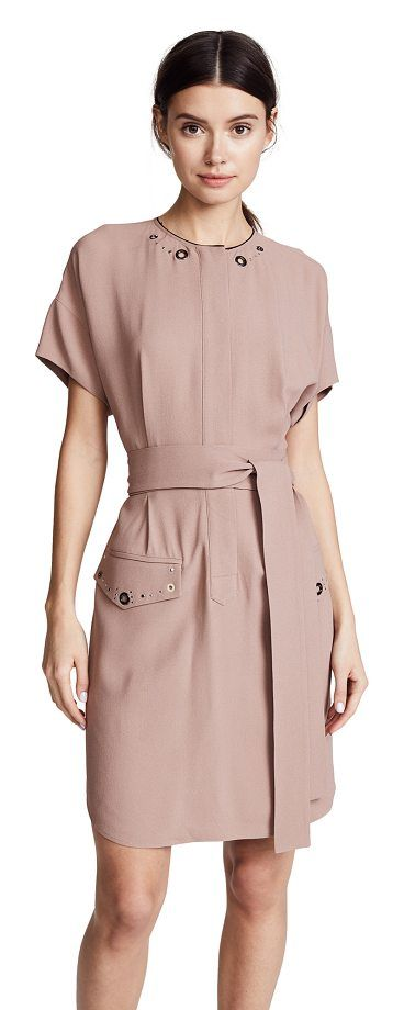 darcie shirtdress by BELSTAFF. Fabric: Crepe Mixed-metal studs Knee length Crew neck Short sleeves Button at front Flap hip pockets Shell: 57% acetate/43% viscose Dry clean Made in Italy Measurements Measurements from size 38 Length: 35.5in / 90cm, from shoulder #belstaff #dresses