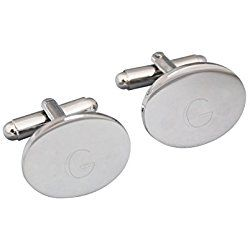 Personalized Silver Oval Cuff Links, Letter G