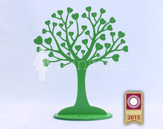 Wooden heart IN LOVE Jewelry Tree Stand GREEN /Jewelry Organizers /Jewelry Stands /Jewellery Holders/Jewelry Organiser, original handmade