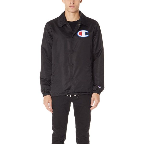 Champion Premium Reverse Weave Coach Jacket ($140) ❤ liked on Polyvore featuring men's fashion, men's clothing, men's outerwear, men's jackets, black, mens short sleeve jacket, mens light weight jackets, mens lightweight jacket and mens collared jacket