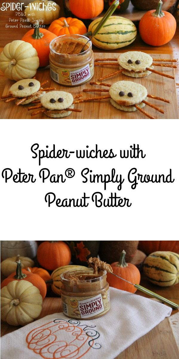 Fall is in the air so you have to make these Spider-Wiches with Peter Pan® Simply Ground Peanut Butter!  recipe here: http://asweetpotatopie.com/2015/11/05/spider-wiches-with-peter-pan-simply-ground-peanut-butter/ #SpreadTheMagic [ad] #collectivebias