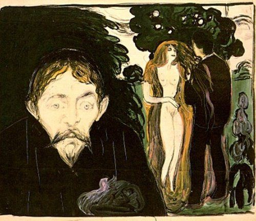 Edvard Munch - Gelosia - 1896 per http://ilsassonellostagno.wordpress.com/2014/05/08/arthur-rimbaud-une-saison-en-enfer-una-stagione-allinferno-testo-dapertura/