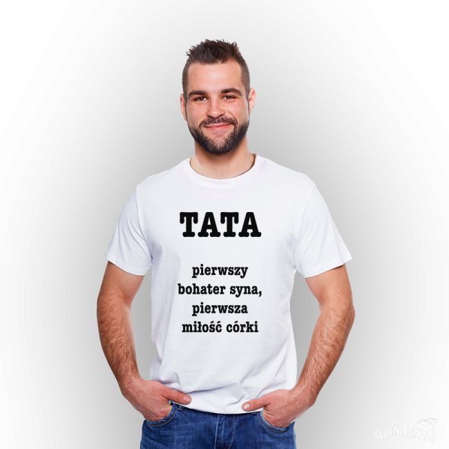 Koszulka męska z nadrukiem: Dzień Taty.  #tshirt #męski #men #koszulka #nadruk #biała #tata #dzieńojca #tshuttle #fajny #prezent