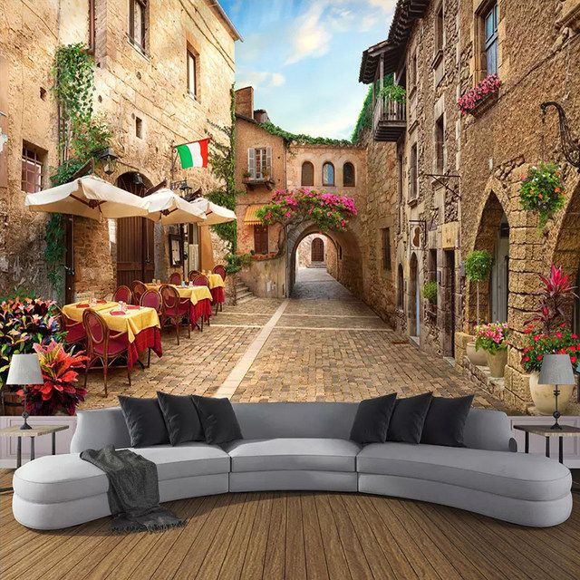 Custom Photo Wall Paper Wall Painting 3D European Street View Living Room Bedroom Non-woven Wallpaper Mural Papel De Parede 3D