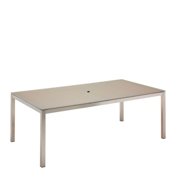 Kore Small Rectangular Dining Table Electropolished Frame / Taupe HPL Top