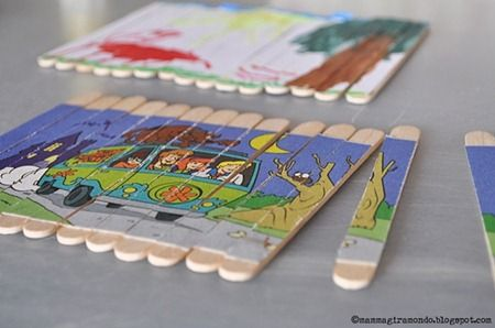 homemade puzzles line them up glue it on craft knife