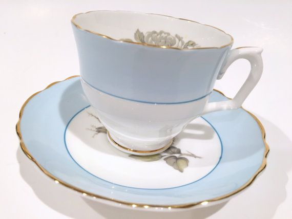 Crown Staffordshire tè tazza e piattino, tazze di porcellana inglese Bone China, blu tazze, tazze da tè antichi, Vintage Tea Party, Shabby Chic, nozze doccia