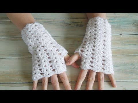 Fingerless Gloves - Eyelet Mock Cable Ribbing Stitch - Fingerless Mitts - YouTube