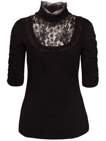 Black Abigail Top by Jawbreaker - Available at Anomalie Clothing - This top features a Victorian inspired high collar; soft jersey fabric; ruched 3/4 length sleeves; lace and taffeta ribbon detail and a detailed black rose shaped button at back of neck. Wear a cameo brooch pinned to the collar instead of a necklace!